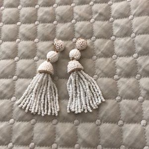 Bubble bar white tassel and beaded earrings